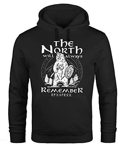 Neverless® Hoodie Herren Bär Wiking Adventure Runen The North Natur Print Aufdruck Fashion Streetstyle schwarz XXL