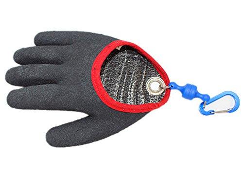 Guante de pesca para la seguridad de los peces con liberación de imán, guantes profesionales de pesca de pescado resistentes a cortes y pinchazos con ganchos magnéticos #FF0001, gris, M-Right