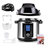 Pressure Cooker Air Fryer Combo, 6 Quart, All-in-1 Multi-Cooker with Detachable Electric Pressure Cooker Lid & 1500W Air Fryer Lid, LED Digital Touchscreen
