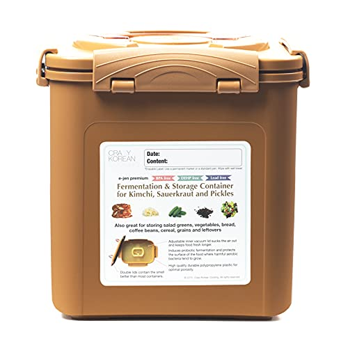 Crazy Korean Cooking Premium Kimchi, Sauerkraut Fermentation and Storage Container with Inner Vacuum Lid, Sandy Brown - 1.6 Gallon (6.4L)