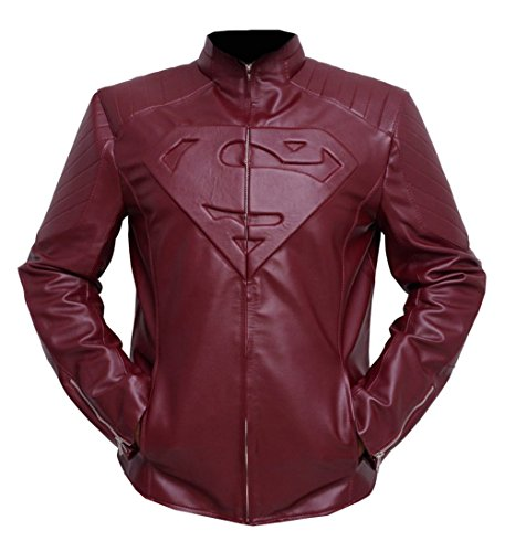 "L.Outfitters Men's HD Style Superman Logo Slimfit Biker Motorcycle Leather Jacket ►Best SELLER◄ (Maroon - Superman Jacket, X-Large - Body Chest 44"" To 46"")"