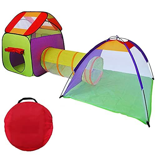 Tenda Per Bambini Cameretta Gioco Bambina Con Tunnel Tenda Gioco Bambino Da Interno Esterno E Giardino Capanna Bimbo Giochi Casetta Da Giardino Per Bambini Tenda Giocattolo Include Borsa (Senza Led)
