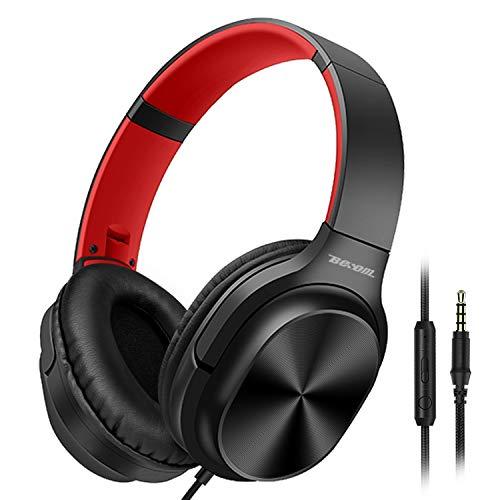 Besom On-Ear-Kopfhörer mit Mikrofon, leicht, faltbar, Stereo-Headset, verhedderungsfreies Kabel, kabelgebundene Kopfhörer für Handys, Smartphones, Tablets, Laptops, Computer, MP3/4-Player schwarz/rot