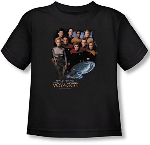 Star Trek - - T-shirt pour jeunes enfants Voyager Crew In Black, 2T, Black
