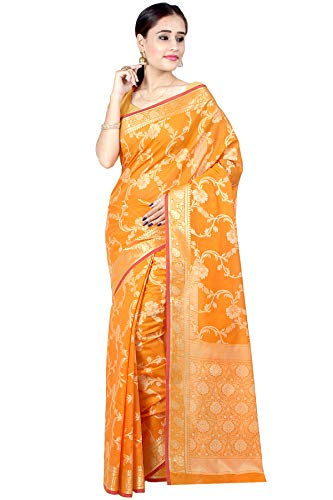 Chandrakala's Women's Cotton Silk Blend Indian Ethnic Banarasi Saree with unstitched Blousepiece(1115) (Gold-5)