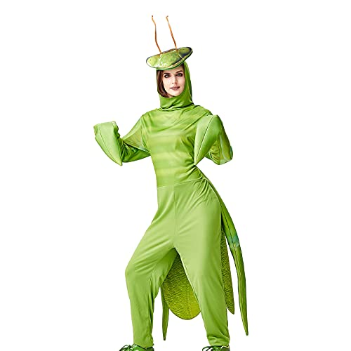 Unisex Adult Funny Frog Mantis One Piece Cosplay Costume Novelty Animal Halloween Cosplay Party Jumpsuit (Gottesanbeterin, One Size)
