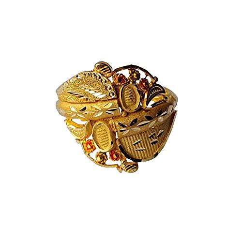 Oro fino amarillo macizo de 18 quilates (18 quilates) Único Diseño Señoras Anillo Tamaño -7.75 Joyas preciosas hechas a mano en la India para regalos,aniversario,boda,compromiso