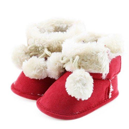 MIYA Super Süß Baby Lammfell Stiefel mit Plüsch Kugelchen, rutschfeste Lauflernschuhe, warm Winter Plüschschuhe, weich, warm und schön, 6~12 Monate,Grau/weinrot/beige/Pink (Weinrot)
