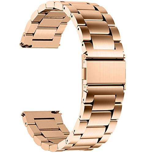 Fullmosa Cinturino 20mm Orologio, Cinturini in Acciaio Inossidabile, Compatible con Amazfit Bip/Bip Lite, Amazfit GTS/GTR 42mm, Huawei Watch GT 2 42mm, Oro Rosa