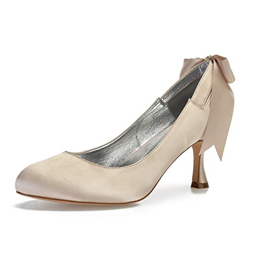 COMFASH 17061-64 Zapatos De Novia para Mujer Zapatos De Tacón Medio Bombas...