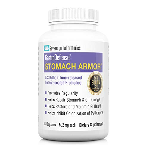 Shelf Stable Probiotic & Prebiotic | GastroDefense Stomach Armor - Supports Good Gut Bacteria, Helps Restore and Maintain Bowel Health, Aids Immune Health | 60 Capsules - Sovereign Laboratories