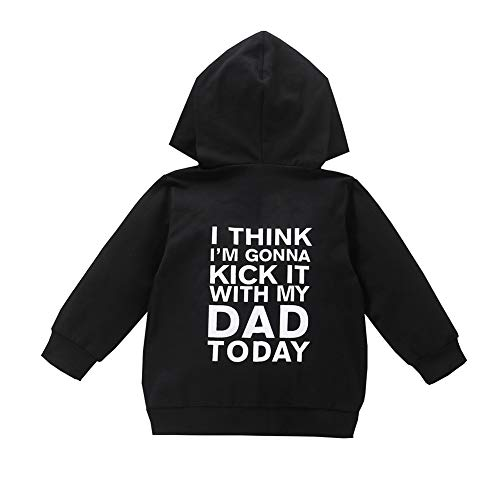 1-6T Kids Toddler Boy Girl Hoodies Pullover DAD Letter Print Sweatshirt Hooded Jersey Casual Clothes Outdoor Outfit (Black Zipper, 3T-4T)