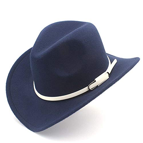 Xuguiping Mannen vrouwen Western Cowboyhoed met witte lederen riem Pop brede rand Jazz Hoed Sombrero Hoed Volwassenen Kerken Hoed Maat 56-58 cm 56-58 Dark Blue