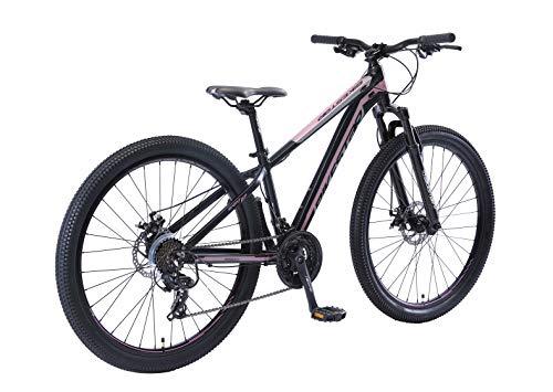 BIKESTAR Hardtail Aluminium Mountainbike Shimano 21 Gang Schaltung, Scheibenbremse 27.5 Zoll Reifen   14 Zoll Rahmen Alu MTB   Blau Rosa