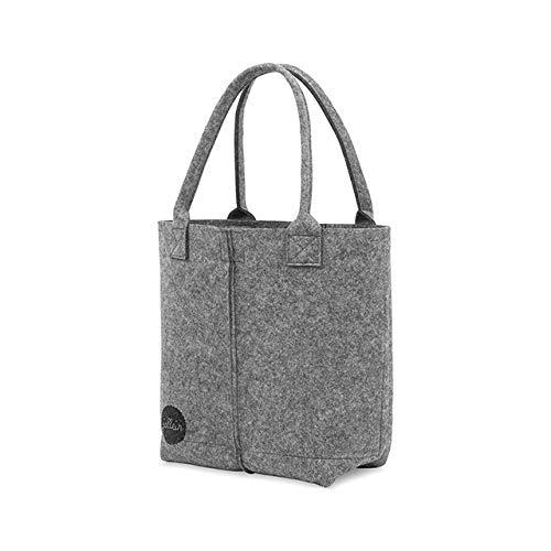 Jollein - Wickeltasche Filz grey - Babytasche mit Trinflaschenfach und Wickelunterlage - Geräumige Mamatasche hellgrau/grau - Verpflegungstasche für unterwegs - Filztasche