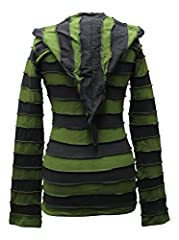 SHOPOHOLIC FASHION Women Stripes Pixie Hood Outwear Hoodie, Green, S #1