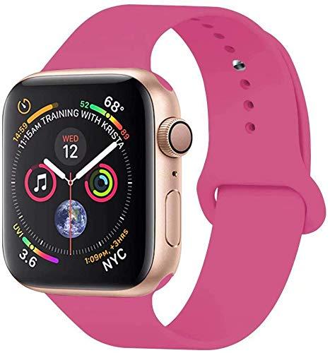 VIKATech Correa de Repuesto Compatible con Apple Watch de 40 mm 38 mm, Correa de Silicona Suave de Repuesto para iWatch Series 5/4/3/2/1, S/M, Dragon Fruta