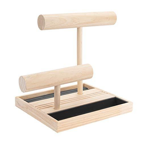 Aiglen Tenedor de pendiente de madera maciza Bandeja de almacenamiento de joyas para el hogar, sostenedor de pulsera, soporte de anillo, soporte de exhibición