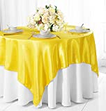 Wedding Linens Inc. 72' Square Satin Table Overlays Toppers Tablecloths Table Overlay Cover Linens for Wedding Decoration Party Banquet Events - Canary Yellow