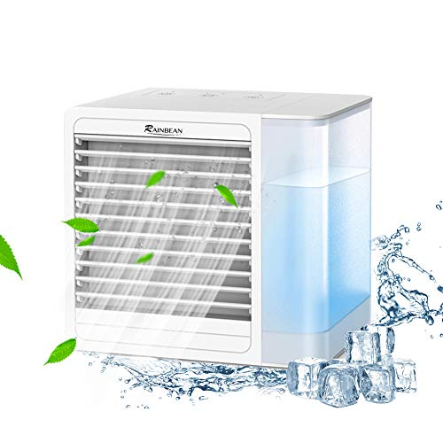 RAINBEAN Portable Air Conditioner Fan, Personal Evaporative Coolers with USB Charging,Quiet Mini Space Cooling Fan with LED Light, Adjustable Purifier for Home Offices Bedroom