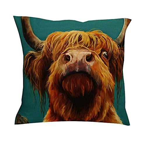 Fundas de almohada decorativas divertidas de color marrón Highland vaca, pintura de ganado salvaje, yak animal, funda de cojín cómoda para sofá, coche, café, blanco, 45,7 x 45,7 cm