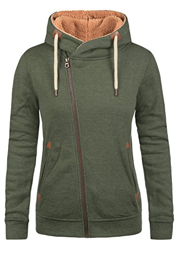 DESIRES Vicky Pile Zip Hood Damen Lange Sweatjacke Cardigan Sweatshirtjacke Mit Teddy-Futter Und Kapuze, Größe:L, Farbe:CLI IV PL (P8785)