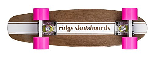 Ridge Maple Holz Mini Cruiser Number Four Skateboard, Pink, MPB-22-NR4