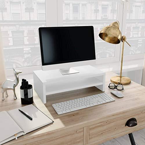 Festnight Monitorständer Weiß 42×24×13 cm Spanplatte Fernsehschrank TV-Schrank Ablagefach für Computer Tastatur Spielekonsole