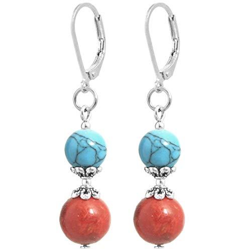2LIVEfor Naturstein Perlen Ohrringe Koralle Rot + blauer synth. Türkis Tropfen rote Ohrringe Tropfen Hängend Tropfenform Kugeln Creolen Brisur Ohrhänger silber