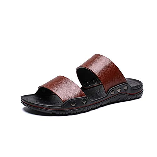 PEMOEM Zapatillas para Hombres Sandalias Sandalias Playa Zapatos Slip en Cuero de Microfibra Color Sólido Cojín Vegano Soles Soles Rivet Fixed Pool Pool Slipper Sliders Flexibles Sliders Hombres