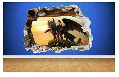 Thorpe Signs Wandaufkleber Drachenzähmen leicht Gemacht, 3D-Stil zerstörte Wand, für Kinderzimmer, Vinyl, Kunst (Groß 80cm x 58cm)