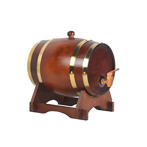 HWhome Chocolate Color Barril De Roble,Madera Dispensador De Barril De Vino Cubo De Almacenamiento Barriles De Cerveza,Contenedor para Vino Capacidad:1.5L / 3L / 5L / 10L(Enviar Botellero)(Size:10L)