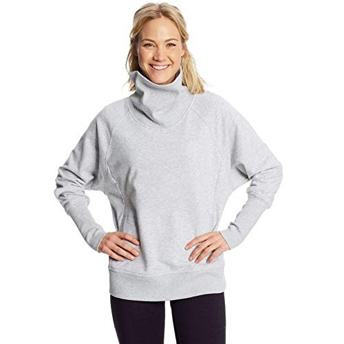 C9 Champion Women's Long Sleeve French Terry Top, Heather Gray, XS