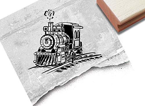 Stempel Motivstempel Lokomotive, Lok - Bildstempel für Karten Basteln Deko Fotobuch Scrapbook Bullet Stamp Schule Geschenk für Kinder - zAcheR-fineT