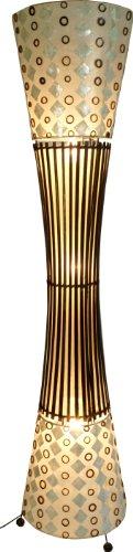 Guru-Shop Stehlampe/Stehleuchte, in Bali Handgemacht aus Naturmaterial, Bambus, Capiz/Perlmutt - Modell Mombasa, Muschelscheiben, 140x30x30 cm, Stehleuchten aus Naturmaterialien