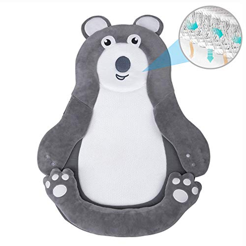 Portable Newborn Baby Lounger Cushion, Untra Soft and Breathable Head Shaping Infant Nest for Travel, Co Sleeping and Flat Head Prevention, Fit Baby Crib, Bassinet and Bed - Bear
