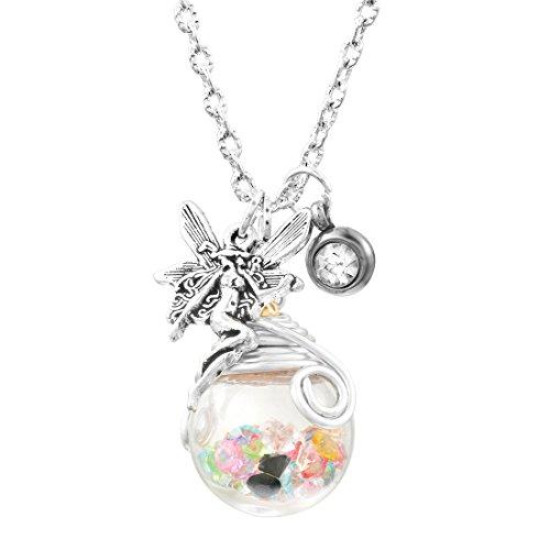 MJARTORIA Damen Mädchen Vintage Kette Glück Halskette Glas Anhänger mit Elfe Amulett und Bunt Strass Wünschen Glasflasche Silber Farbe (Bunt)