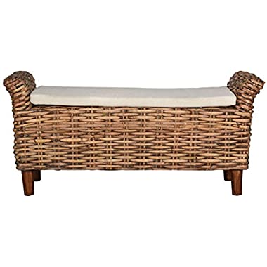 Safavieh Home Collection Palermo Brown and Eggshell Bench