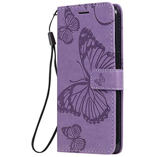 WIWJ Schutzhülle für Samsung Galaxy A10s Tasche Schmetterling - Blumen Muster 360 Grad Full Schutz Handy Hülle Buchstil Ledertasche Flip Wallet Case Notebook mit Kartenhalter Schale Etui,Lila