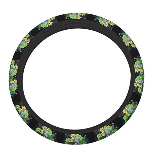 R-ick Mo-rty Elasticity Steering Wheel Cover Microfiber Soft-Touch Steering Wheel Covers Steering Wheel Protector for Women and Men (15 inch)