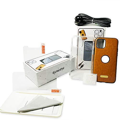 PolenPol Accessories - Juego de accesorios para iPhone 11 Pro (cable USB, protector de pantalla, funda transparente, funda de piel y protector de lente de cámara)