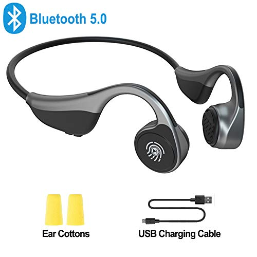 Open Ear Headphones, Monodeal Bone Conduction Headphones Wireless Bluetooth Headset with Microphone for...