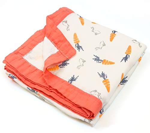 Soft Muslin Baby Swaddle Blanket, Unisex Baby Quilts Stroller Cover Bath Towels to Newborn Toddler, 4-Layers 70% Bamboo 30% Natural Cotton, 43X45inchs (Carrot Rabbit)