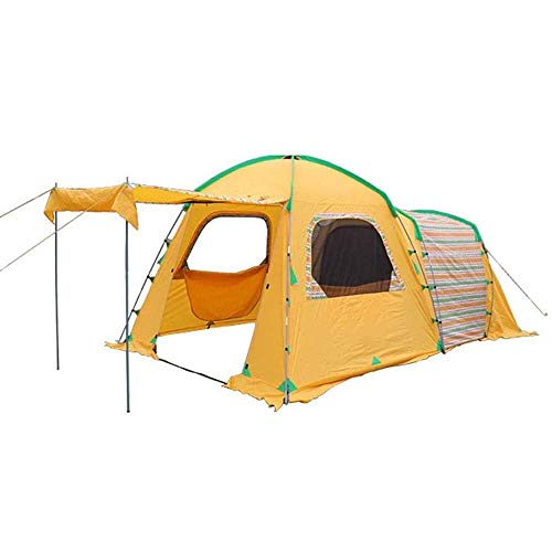 XIUYU Camping Tent, 4 Person Family Camping Tent, Waterproof Full Head Standing Height, Outdoor Tent for Hiking, (260 + 240) * 260 * 210 / 175cm