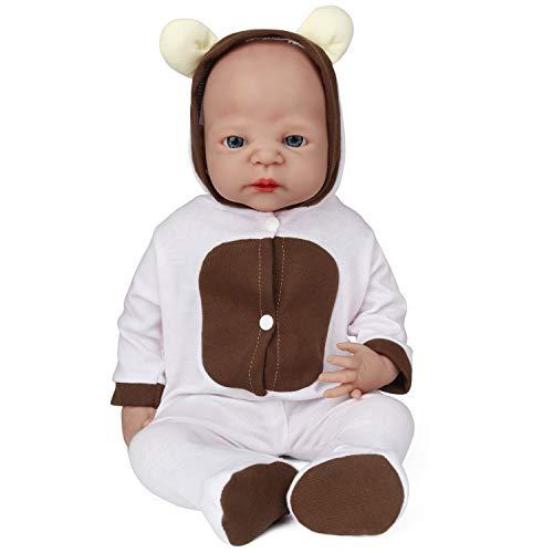 Vollence Poupée Reborn bébé réaliste 55 cm, sans PVC, Silicone Platine, Corps Complet Aspect réel, Réaliste, Doux fabriqué à la Main avec vêtements, Objet de Collection- Fille