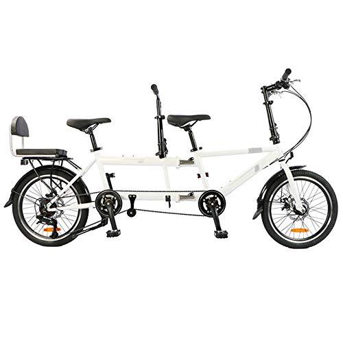 CCZUIML Tandem Fahrrad 700C, 28 Zoll Trekkingrad,tandemfahrräder Für Paare Zum Tourismus Und Sightseeing, Zusammenklappbar, Es Können Auch Zwei Personen Mit Kindern Und DREI Personen Fahrrad Fahren