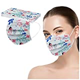 Einweg Mundschutz Mund-Nasenschutz,Blume Bedruckt 3 lagig Einmal Maske,Atmungsaktive Bandana Bunt Modegeschmack Halstuch für Männer Frauen (I (10PCS))