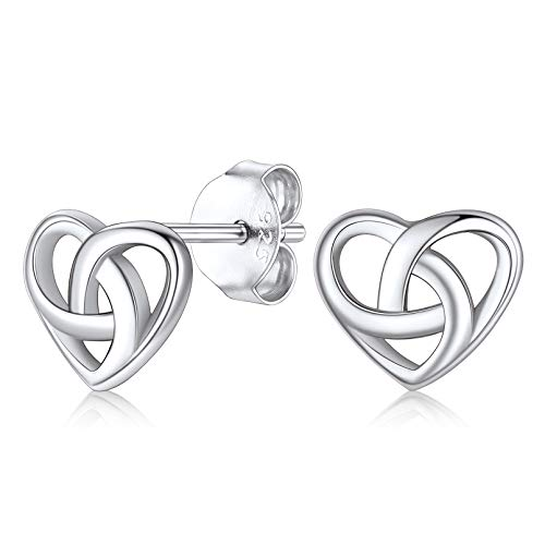 FaithHeart Heart Knot Stud Earrings Celtic Ear Rings for Women Sterling Silver Vintage Irish Jewelry Charms Little Girls Studs