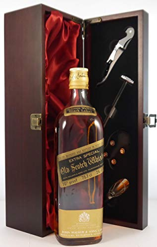 Photo of Johnnie Walker Black Label Extra Special Old Scotch Whisky (1970s bottling) in a silk lined wooden box with four wine accessories, 1 x 750ml
