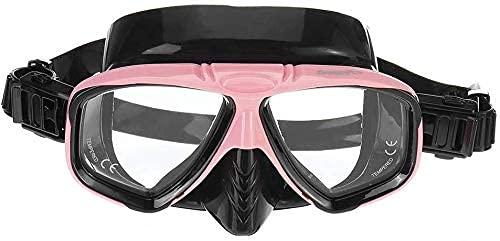 AWJ máscara de Buceo Máscara de Buceo Máscara de Buceo Máscara antiniebla Respiración de natación subacuática Gafas de esnórquel para bucear (Color: Rosa, Tamaño: Talla única)